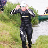 First woman out of the water: Lisa Hirschfelder