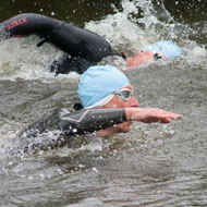 Stefan Teichert and Steve King swim at the front