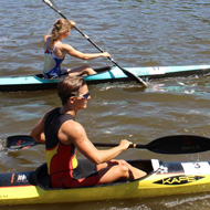 Lisa Teichert and Magdalena Koberova come together from the kayak